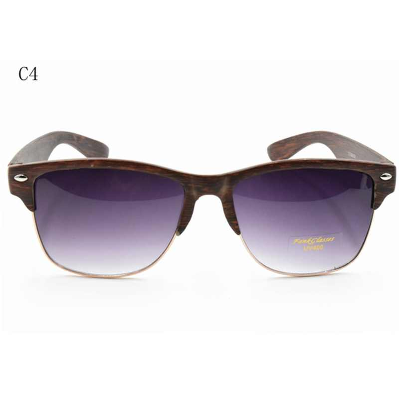 Half Frame Wood Glasses : Plastic Wood Grain Designer Sunglass Women Half Frame ...