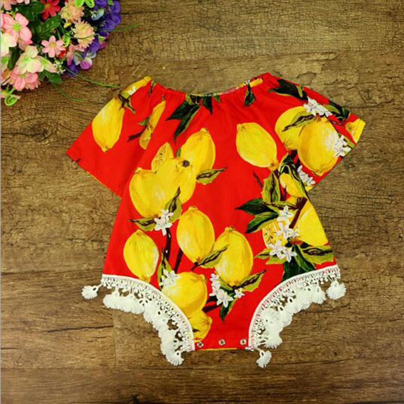 2017 Lemon Baby Clothes Short Sleeve Summer Girls Bodysuit