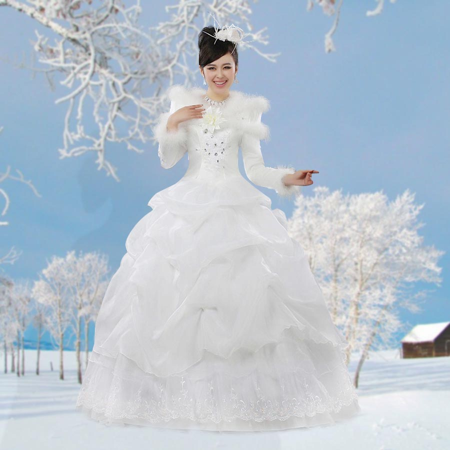Korean winter long sleeve wedding dress winter fur collar for Casual winter wedding dresses with sleeves