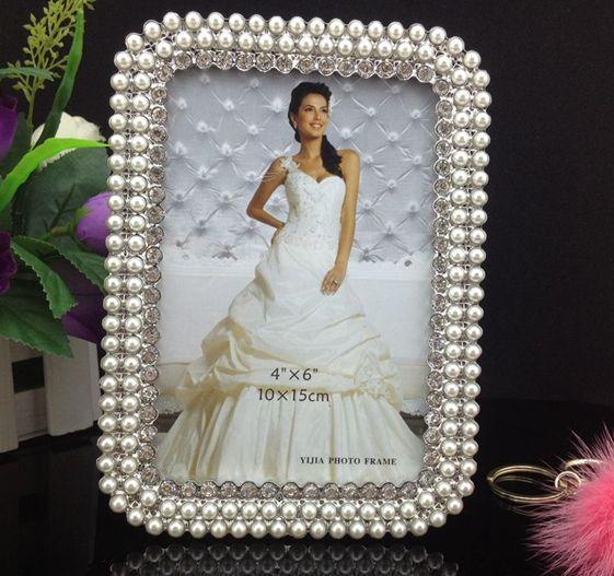 metal frames 5 6 7 8 10pearl diamond inlaid metal alloy photo frame wedding photo frame bridal. Black Bedroom Furniture Sets. Home Design Ideas