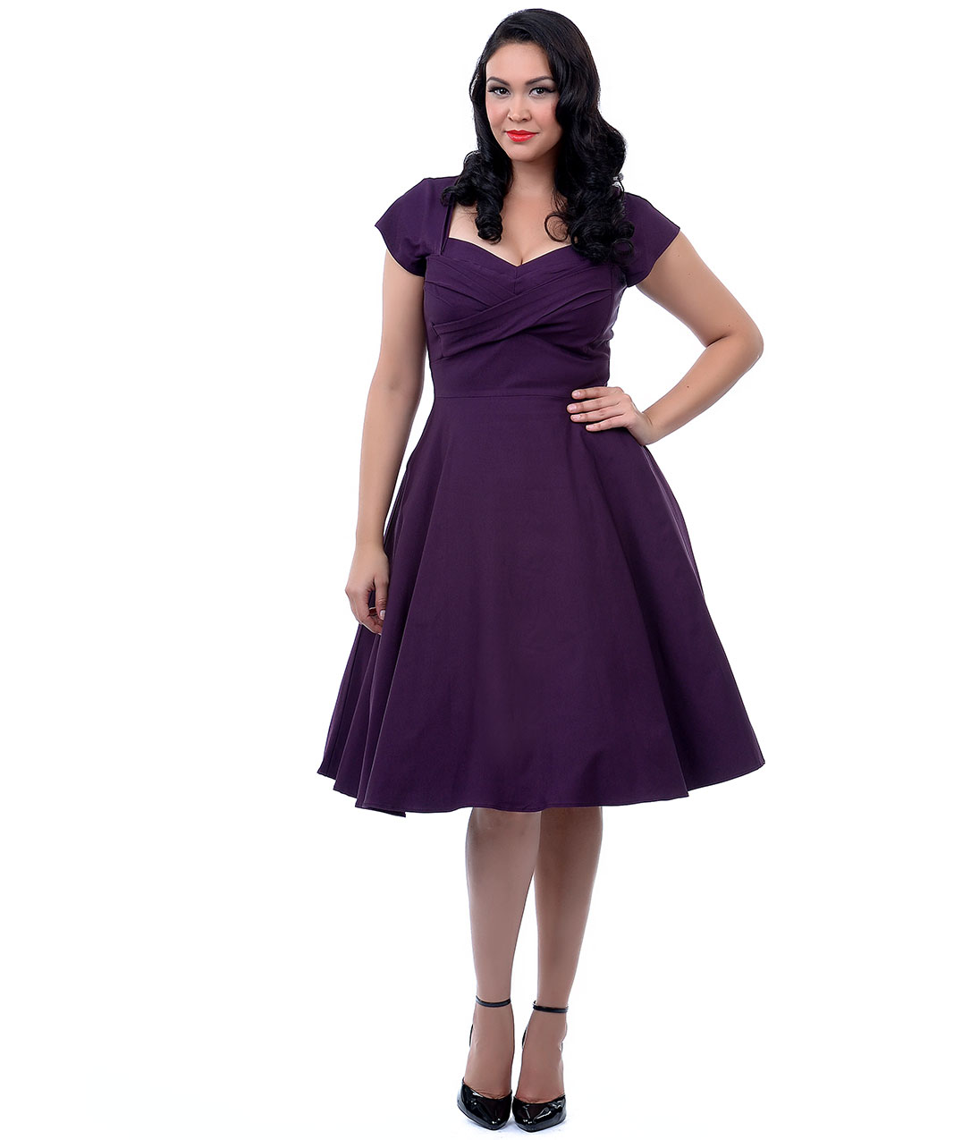 2015 Simple Knee Length Short Sleeves Plus Size Bridesmaid