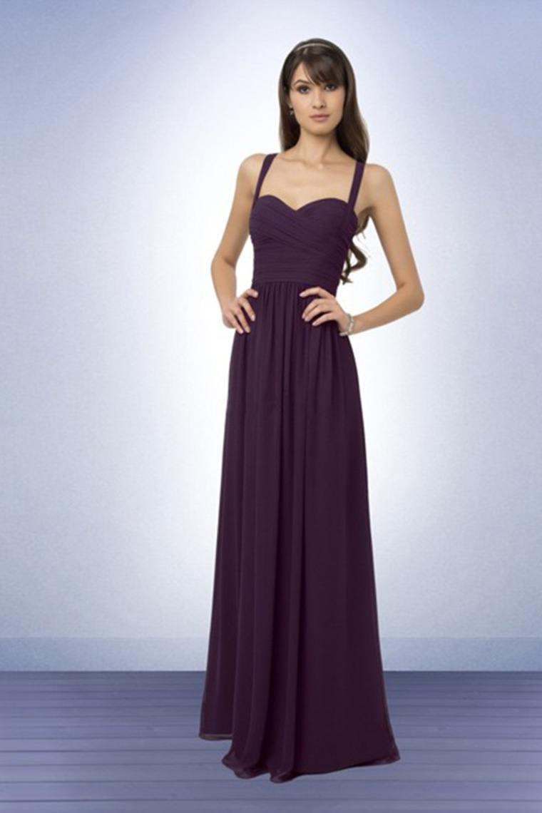 Grape Bridesmaid Dresses With Spaghetti Strap Neckline