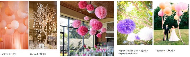 2,按照空间分布分类:   关键词:灯笼lantern,孔明灯,挂饰,纸质花球