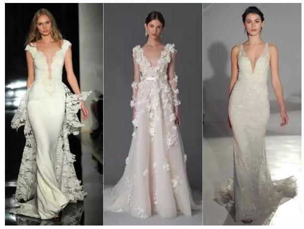当然,在2017春季婚纱周上,设计师对深v的设计又加以调整,采用蕾丝