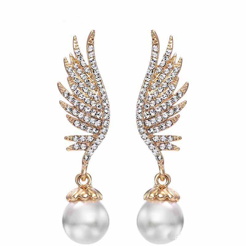 Neoglory Champagne Rhinestone plaqué en or Perle Simulée Designer Romantique Boucles d'oreilles pour les femmes de mariage 2017 nouvelle conception