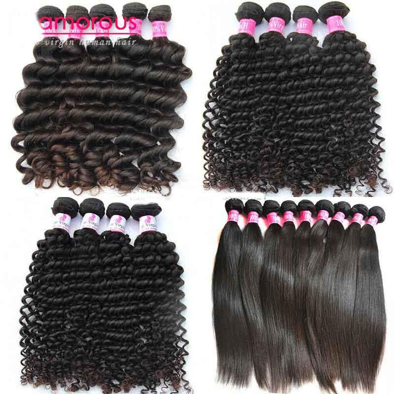Cheveux Glamorous Meilleures ventes La catégorie de 8a Tissage brésilien des cheveux non transformés 10 fagots de Deep Wave Curly Straight Hair Extensions d' Indien péruvien