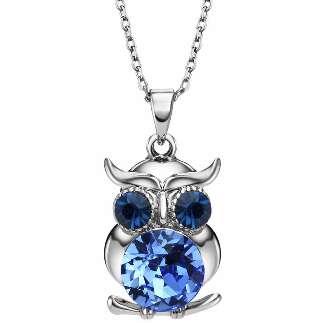 Neoglory Blue Austrian Crystals Owl Maxi Boho Colliers à longues crayons & Pendentifs pour femmes Cadeaux pour filles Bijoux à la mode de l'an 2017