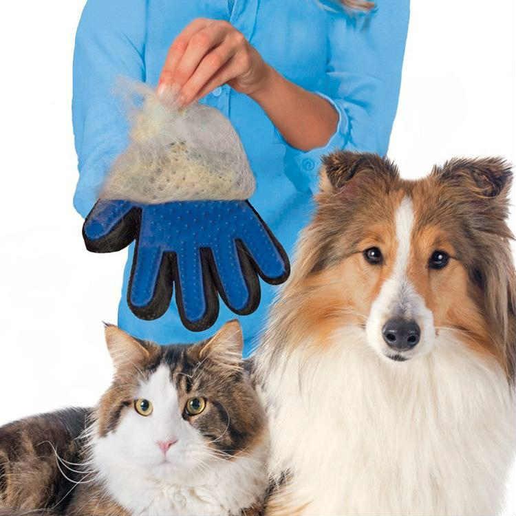 2017Nouveau produit Silicone Gant Deshedding Doux de vrai contact Toilettage Efficace pour animaux de compagnie Bain de Chien Fournitures Bleux pour animaux de compagnie