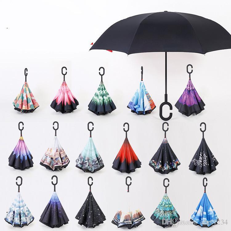 2017 Parapluies inverses créatives Double couche avec des parapluie à manette en C à l'intérieur Reverse Windbreche parapluie 32 couleurs DHL Livraison gratuite