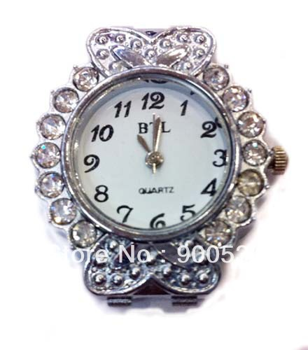 Wholesale-Free shipping 6PCS/LOT Silver Quartz Beading Watch face Fit Charm Links Bead 35x30mm #wc01