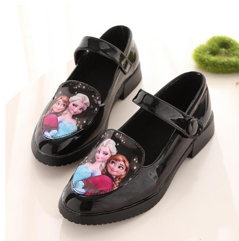 Wholesale-2015 Black Girls Froze Princess Cinderella Shoes Flat For Big Girls Autumn Summer Leather Shoes Children's Shoes 31-36