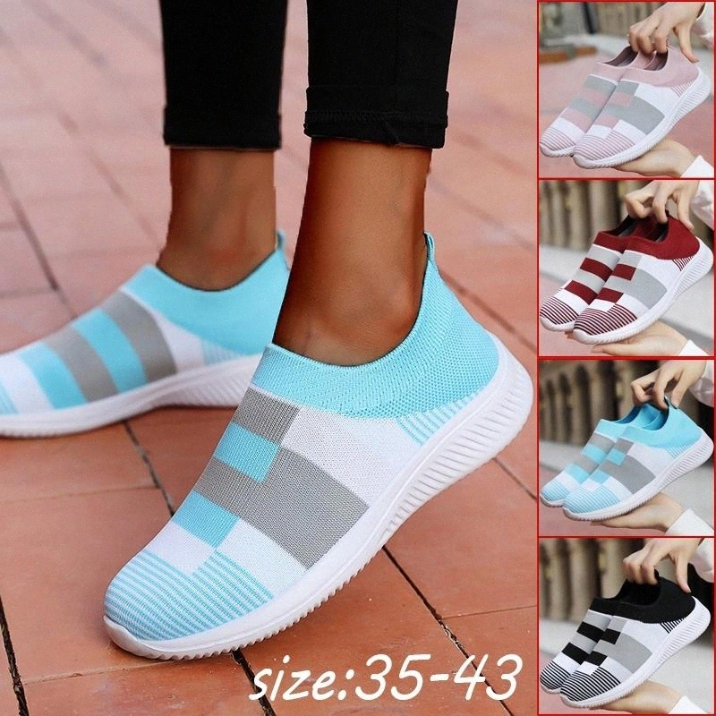 Women Soft Slip On Casual Sport Mesh Breathable Flat Shoes
