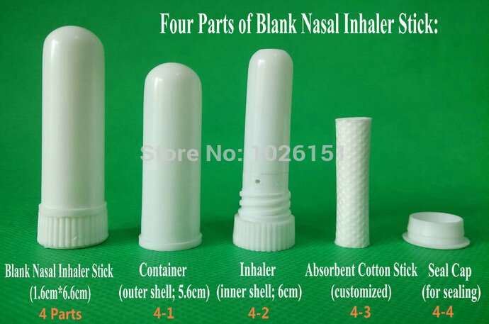 Wholesale-Free shipping 100 sets blank nasal inhaler aroma sticks, blank aromatherapy nasal inhaler, nasal inhalers (Cotton Wicks 51mm)