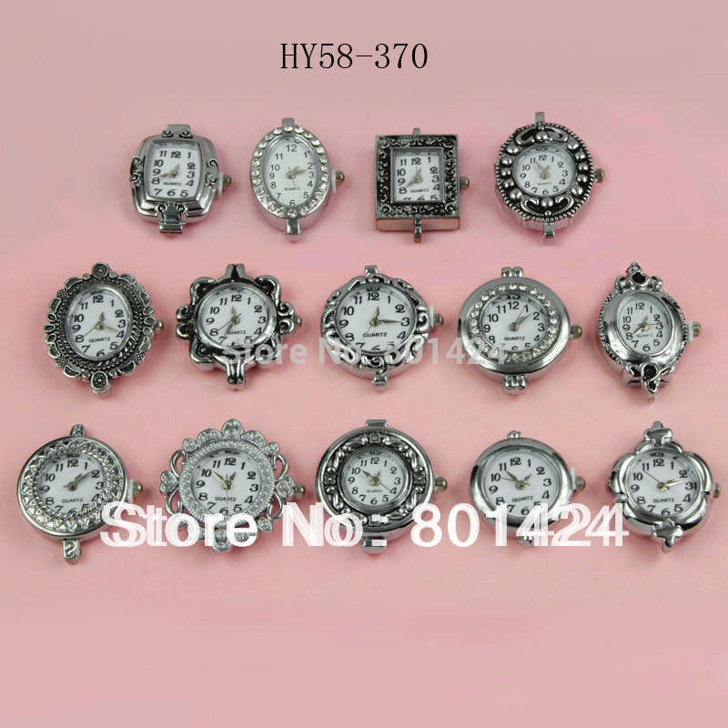 Wholesale-free shipping 10pcs 58-370 Mixed style antique silver plated rhinestone Good quality Watch Face shamballa watch face