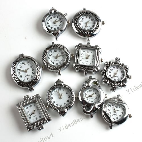 Wholesale-10x Mixed Assorted NEW Fashion Styles Silver Tone Watch Face For Jewelry Making Findings 151464