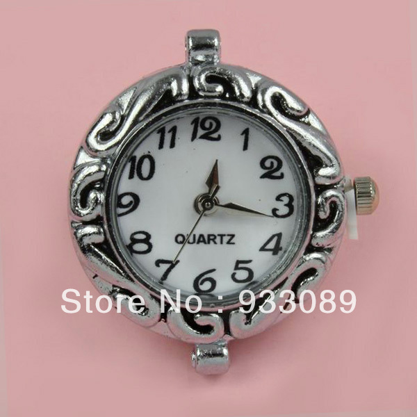 Wholesale-Free Shipping 10pcs/lot New Style Watch Face Alloy Charms Bead Silver Plated Fit European Bracelet Handmade Wholesale 58-370