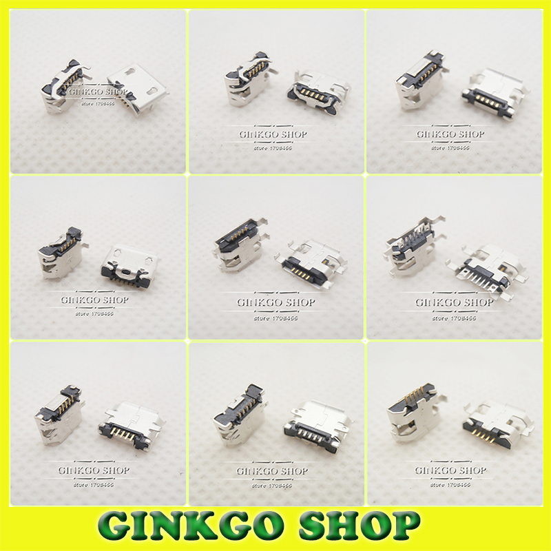 Wholesale-10Models,100pcs total Micro USB 5Pin jack tail sockect, Micro Usb Connector port sockect for samsung Lenovo Huawei ZTE HTC ect