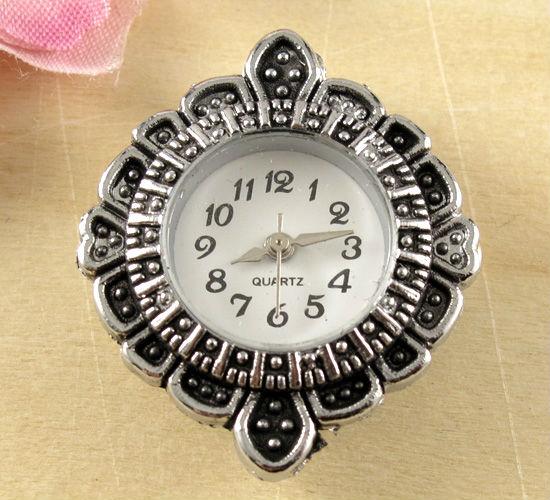 Wholesale-5pcs Fashionable New Arrive Quartz Silver Tone Watch Faces For Beading w01 leather quartz wristwatches