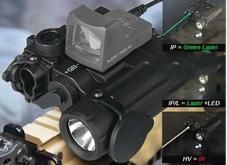 Wholesale-new arrival DBAL-D2 Dual Beam Aiming Laser Green w/IR LED Illuminator Class 1 with mini red dopt for hunting CL15-0074