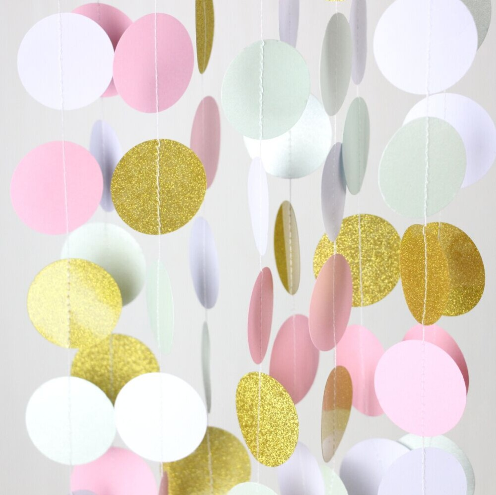 Wholesale-Glitter Gold Mint Pink White Paper Circle Garland Party ...