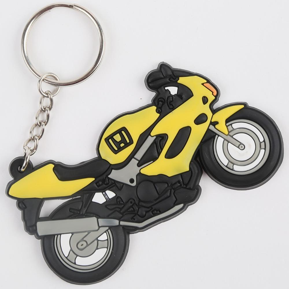 Wholesale-New Rubber Yellow Motorbike Design Keyring