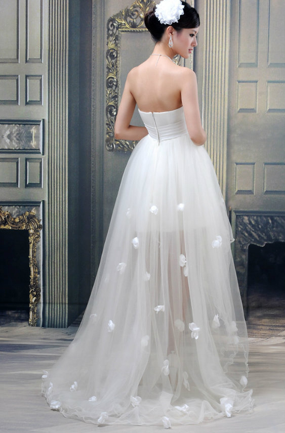 Wholesale-2015 New Hot Sale White Sweetheart Beaded Belt Front Short Long Back Ruched Wedding Dresses Free shipping