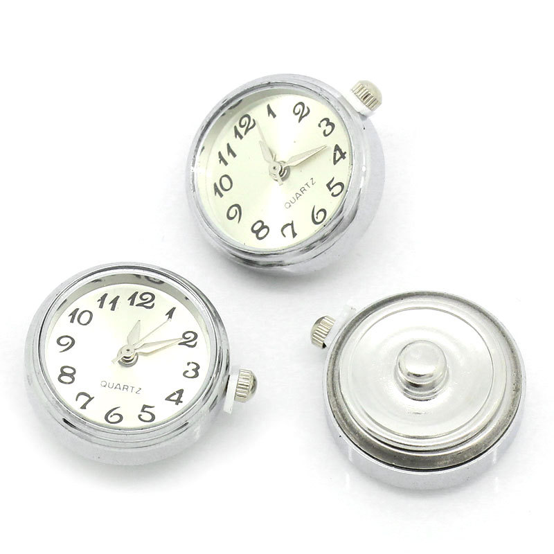 "Wholesale-Free Shipping 5Pcs Hot New DIY Watch Face White Fit Metal Snap Press Buttons Fashion Woman & Man Jewelry 25mm x 21mm(1""x 7/8"")"