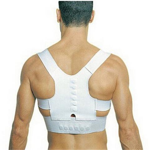 Hot Sale Adjustable Unisex design Power Magnetic Posture Support Corrector Back Brace Belt Health Care Color White