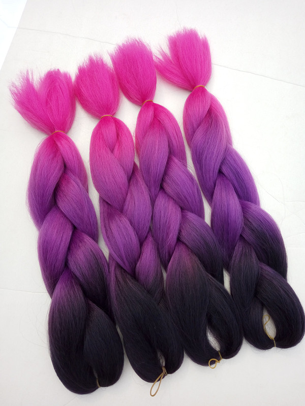 Wholesale New Black To Purple Pink Colorful Ombre Braiding Hair