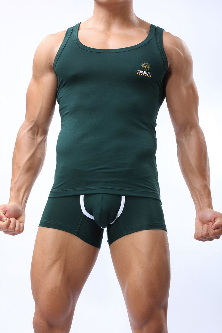 Wholesale-JERSEY+SHORTS Mens Body Building Underwear Green Gym Outfit Wrestling singlet Hot Looking Workout