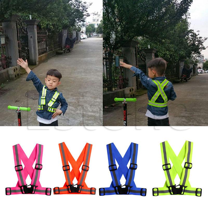 Wholesale- Kids Reflective Vest Adjustable Safety Security Visibility Gear Stripes Jacket