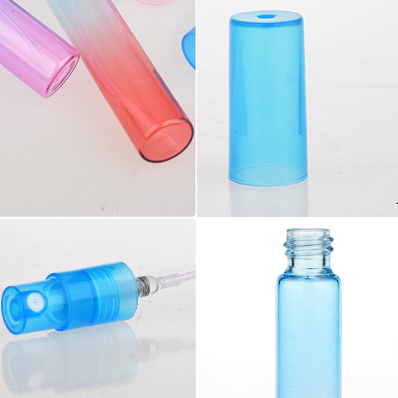 72pcs/lot 8ML Mini Empty Perfume Spray Bottle Portable Colorful Glass Bottle With Atomizer Scent Pump Cosmetic Containers For Travel