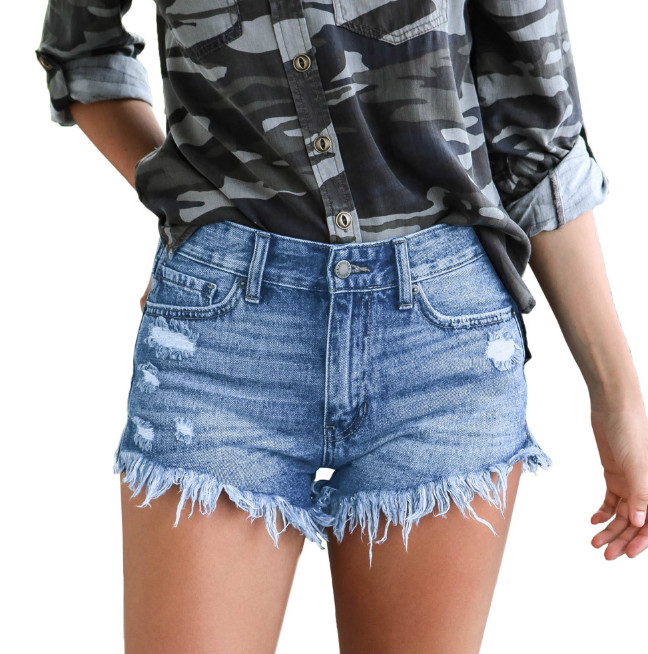 Front Zip Frayed Hem Denim Micro Shorts