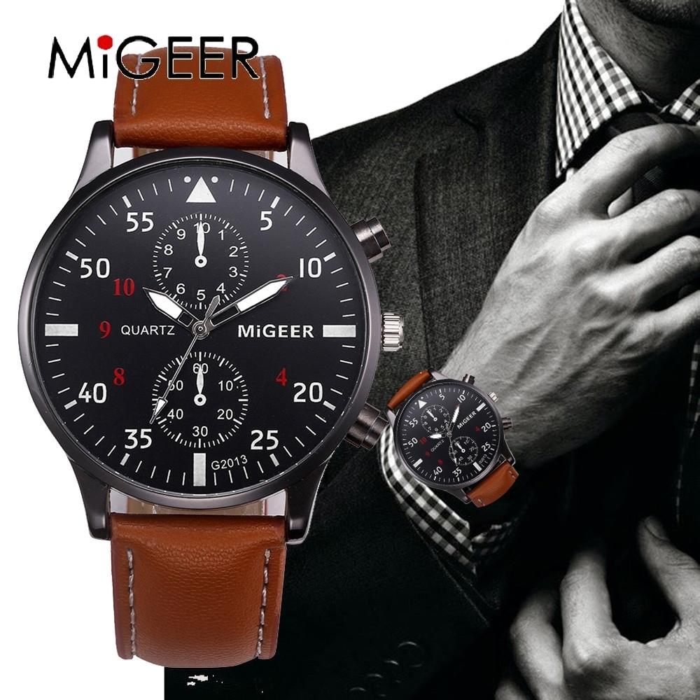 GIMTO GM208 Luxury Leather Watch Band Men Quartz Watch