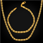 18K Real Gold Plated Necklace Bracelet