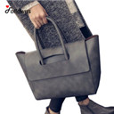 New Women Tote Bag High Capacity Female Casual Fashion OL BUsiness PU Leather Handbags Black Brown Gray