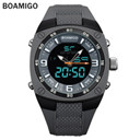 BOAMIGO men sports dual display watches rubber starp man digital analog LED wristwatches waterproof fashion quartz clock reloj