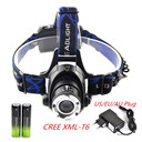 2000Lm Waterproof CREE XML T6 Zoom LED Headlight Headlamp Head Lamp Light Zoomable Adjust Focus For Bicycle Camping Hiking