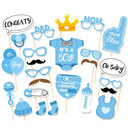 25pcs It's A Boy Baby Shower Party Photo Booth Props Kits on A Stick Wedding Party Decor (Color: Blue)