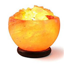 Salt lamp,Rock Salt Bowl Lamp with Salt Chips, Wood Base, Electric wire & Bulb