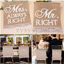 Vintage Mr Right Mrs Always Right Wedding Chair Bunting Hessian Burlap Banner