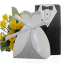 100pcs Party Wedding Favor Dress & Tuxedo Bride and Candy Box