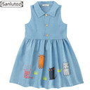Denim Summer Cotton Cat Girls Dresses