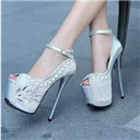Glitter Wedding Shoes Crystals Beads Pumps Shoes  High Heels Bridal Shoes