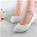 Pearls White lace Wedding Shoes High Heels Bridal Shoes