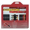 Calliraphy Maxi Kit, 3 Viewpoint Fountain Pens with 3 Nib Grades, Assortment of Ink Cartridges, Tracing Pad