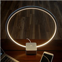 Circle LED Table & Desk Lamp – Bright Orb of Light with Built-in Dimmer Brings Sci-Fi Ambiance to Contemporary Spaces –12 Watts – Silver