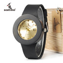 BOBO BIRD C03 Ebony Wooden Watch with Genuine Leather Band Quartz Gold Analog Calendar High Quality Miyota Movement Accept OEM