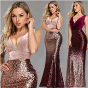 V-neck Sequin Evening Dress