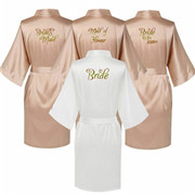Women Champagne Bride Wedding Satin Bath Robe Gown